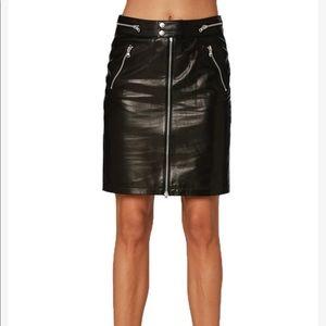 Etienne Marcel Leather Zip Front Pencil Skirt
